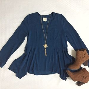 •Anthropologie• Maeve Navy Asymmetrical Top